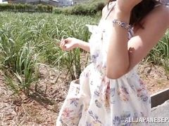 japanese slut swallows dick in the farm